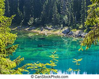 világos, perfectly, tó, smaragdzöld