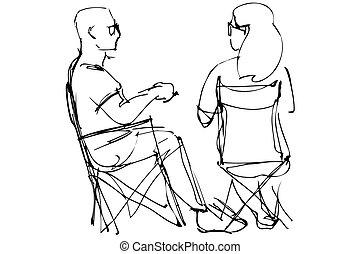 vila, kvinna sitta, stol, till å slå samme, glasögon, man