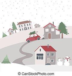 vila, ligado, a, colina, em, inverno, time.