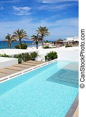 vila, luxo, grécia, crete, piscina, natação