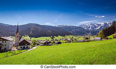 vila montanha, gosau, em, alps austrian