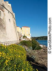 Vila Nova de Milfontes castle from the beach, in Portugal