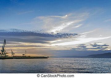 Sunset over Vilagarcia de Arousa harbor in Arousa Estuary
