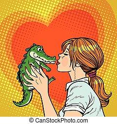 vilain, baisers, crocodile, concept, maman, bébé