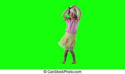 vilain, head., danse, santa, enfant, girl, roux, chapeau, ...