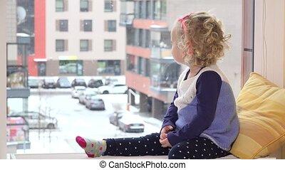 vilain, lunettes soleil, radiateur, séance, neige, fenêtre., girl, tomber
