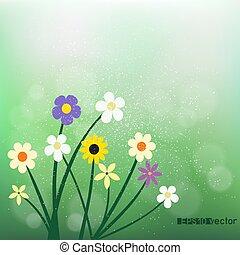 vild blommar, på, suddiga, grön, bokeh