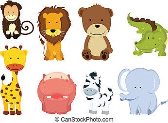 vild, cartoons, djur