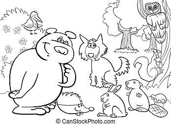 vild, coloring, dyr, bog, skov