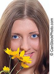 vild, cute, pige, blomst, gul