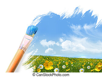 vild, fält, blomningen, fyllda, målning