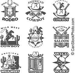 vilda västerut, sätta, emblem