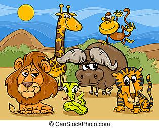 vilde dyr, gruppe, cartoon, illustration