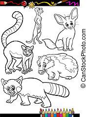 vilde dyr, sæt, by, coloring bog