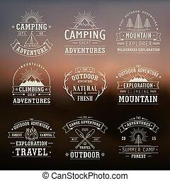vildmark, och, natur, utforskning, symboler