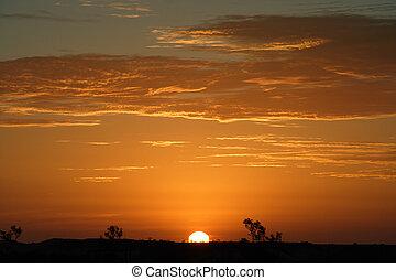 vildmark, solnedgång