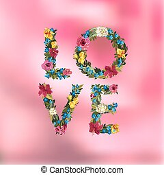 Vilentines day greeting card on blurred background - Love...