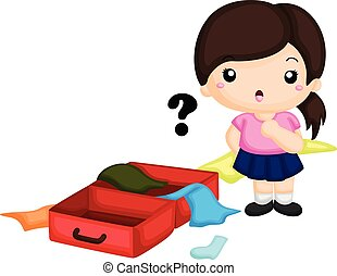 vilja, eps8, flicka, förvirrat, ordna, resväska, alla, kläder