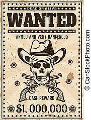 viljat, årgång, västra, affisch, med, cowboy, kranium