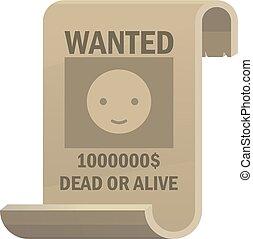 viljat, död, eller, levande, icon., årgång, västra, affisch, med, cowboy, smiley, face., vektor, illustration