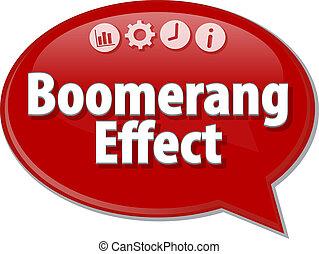 vilkår, firma, indvirkning, illustration, tale, boomerang, boble