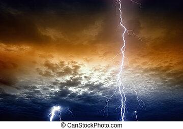 villámlás, alatt, viharos, naplemente ég
