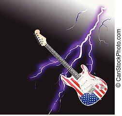 villámlás, gitár, gyakorlatias, amerikai, kő, tekercs