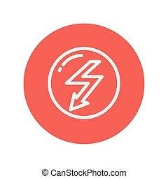 villámlás, híg, nyíl, egyenes, buborék, ikon