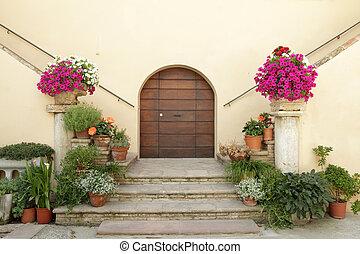 villa, élégant, beaucoup, seuils, flowe, décoré, italien