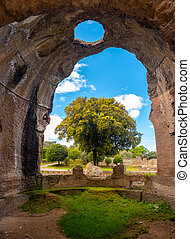 Villa Adriana - Rome Tivoli - Italy - large tree seen through large crumbled walls chasm in ancient Roman palace with circle-shaped hole on ceiling