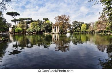 Villa Borghese, Rome, Italy. - Temple of Esculapio, located...