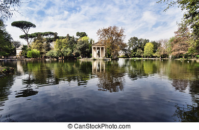 Villa Borghese, Rome, Italy. - Temple of Esculapio, located...