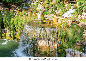 Villa D Este gardens in Tivoli - Oval Fountain local ...