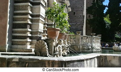 Villa d'Este Tivoli, Italy - SEPTEMBER 6, 2016. Music fountain dell'organo in the Gardens of Villa d'Este