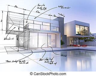 Villa draft - 3D rendering of a luxurious villa contrasting...