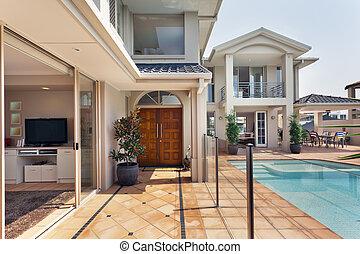 villa, eingang, australische, luxuriös