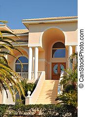 villa, elegant, eingang