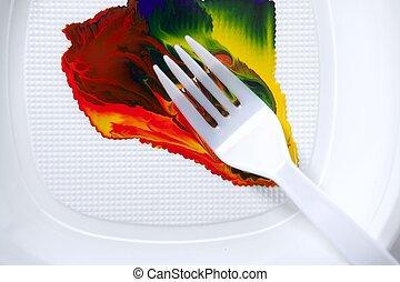 villa, elegyít, festék, színes, műanyag
