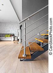 villa, escalier, bois, idée, spacieux, intérieur
