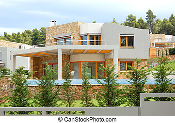 villa, halkidiki, vert, luxe, grèce, pelouse