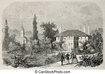 Villa in Topcider - Old illustration of Prince Mihailo...