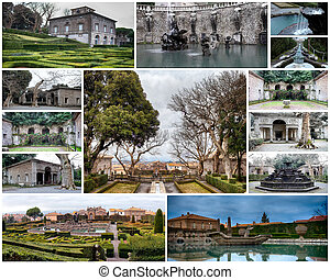 Collage of pictures showing Villa Lante at Bagnaia, Viterbo province, Italy.