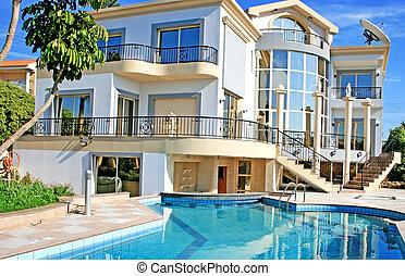 villa, luxuös