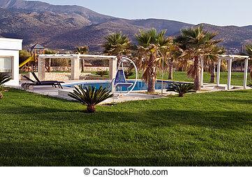 villa, lyxvara, grekland, kreta, slå samman, simning