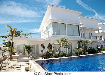 villa, lyxvara, slå samman, simning