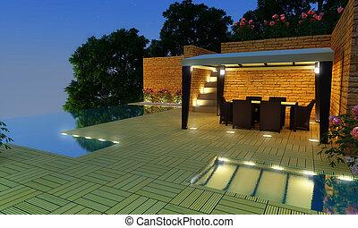 villa, nacht, -, luxe, tijd, tuin