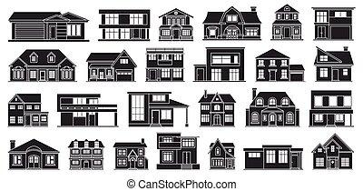 Villa of house vector black set icon. Vector illustration ...