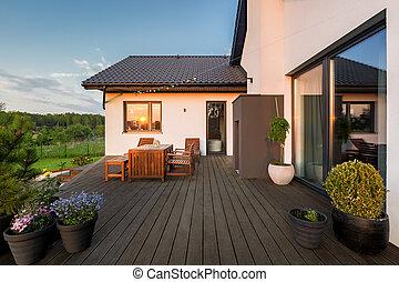 Villa patio with decorative plants