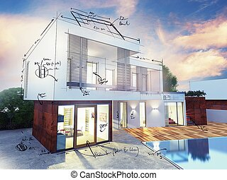 villa, plan, luxe