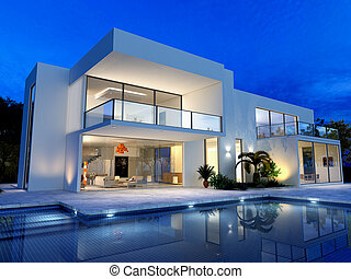 villa, slå samman, luxuös